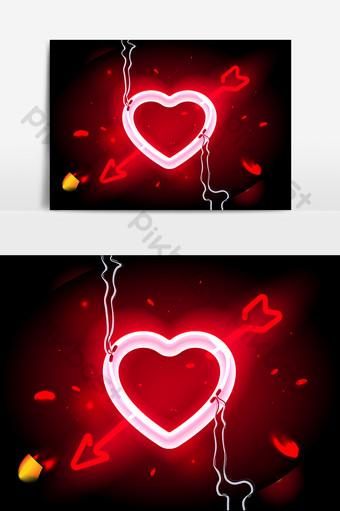 rojo creativo día de san valentín amor vector elemento gráfico diseño Elementos graficos Modelo PSD
