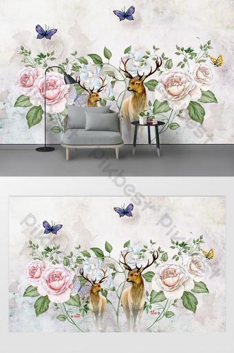 modern nordic floral rusa dinding latar belakang sofa ruang tamu Dekorasi dan model Templat PSD