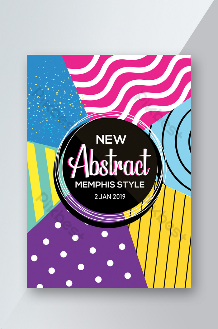 Memphis Design Flyer Template With Multi Colors | template