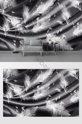 北歐現代羽毛臥室背景牆 裝飾·模型 模板 PSD
