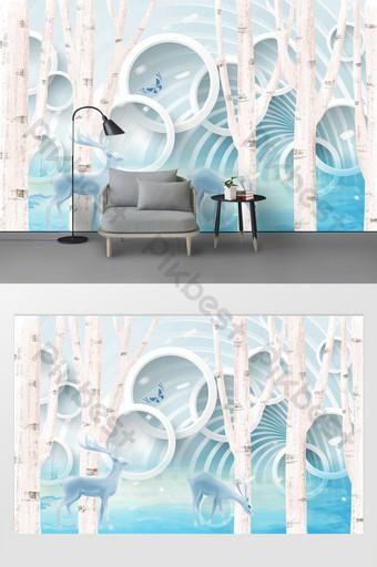 3d lingkaran abstrak pohon rusa modern dinding latar belakang yang indah Dekorasi dan model Templat PSD