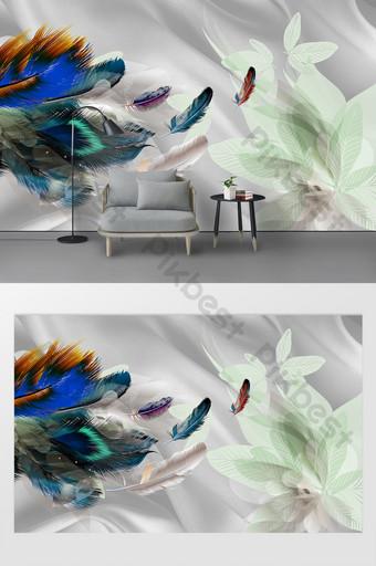 時尚現代北歐羽毛臥室背景牆 裝飾·模型 模板 PSD