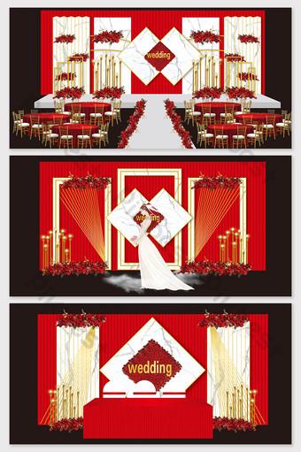 Imagen de efecto de boda de textura de mármol rojo y blanco de estilo europeo simple moderno Decoración y modelo Modelo AI