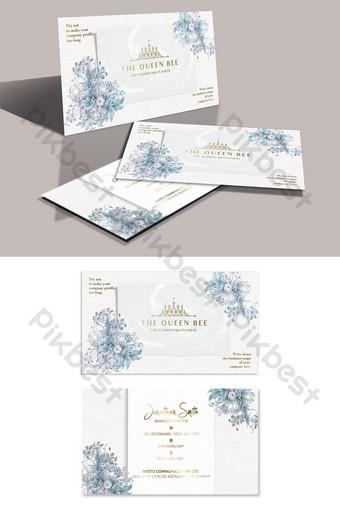 Carte de visite bronzante simple et exquise d'élément floral de style européen Modèle PSD