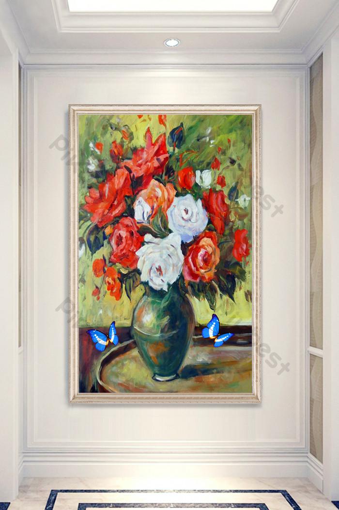 中国風の手描きの花瓶の花蝶油絵ポーチ