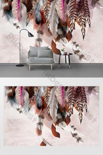 現代北歐多彩羽毛臥室背景牆 裝飾·模型 模板 PSD