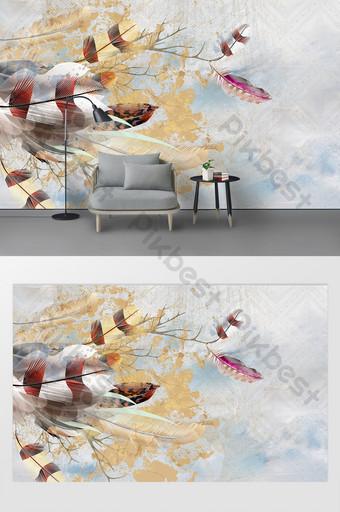 手繪水彩現代羽毛臥室背景牆 裝飾·模型 模板 PSD