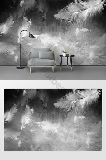 現代簡約黑白羽毛臥室背景牆 裝飾·模型 模板 PSD