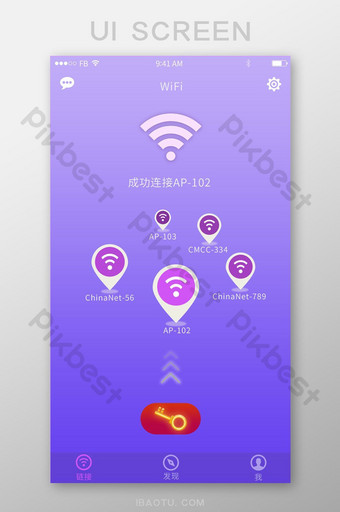 WIFI search to find network connection near the purple gradient UI Template PSD