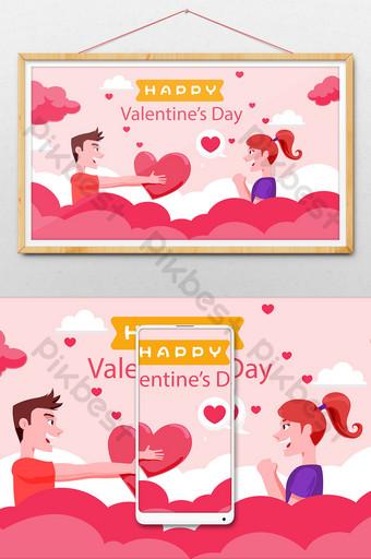 dibujos animados amor romántico propuesta confesión banner cuenta pública ilustración Ilustración Modelo AI