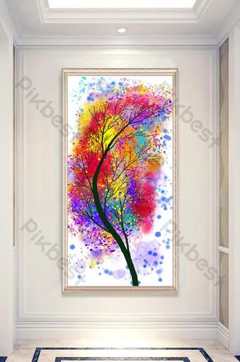 decoración moderna de la entrada de la pintura al óleo del árbol pequeño fresco y rico Decoración y modelo Modelo PSD