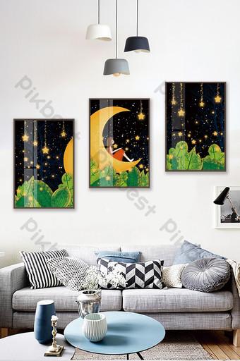 唯美手繪夜空星空水晶磁性風景兒童房臥室裝飾畫 裝飾·模型 模板 PSD