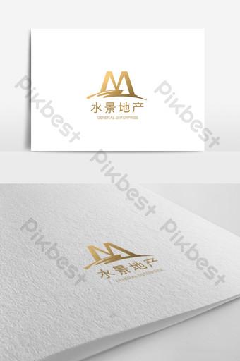 plantilla de logotipo de bienes raíces de paisaje acuático de alta gama simple y elegante Modelo AI