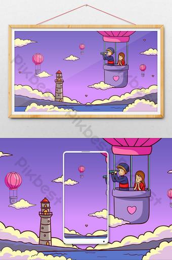 globo de aire caliente de dibujos animados amor romántico día de san valentín banner ilustración de cuenta pública Ilustración Modelo AI