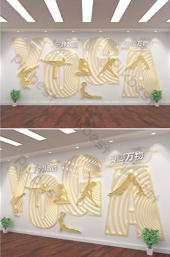 اليوغا الحديثة ثقافة رياضية ثلاثية الأبعاد الجدار صورة اللياقة الوطنية الديكور والنموذج قالب AI