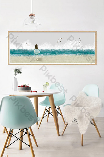 drawing seaside girl landscape living room dining bedroom decoration painting Decors & 3D Models Template PSD