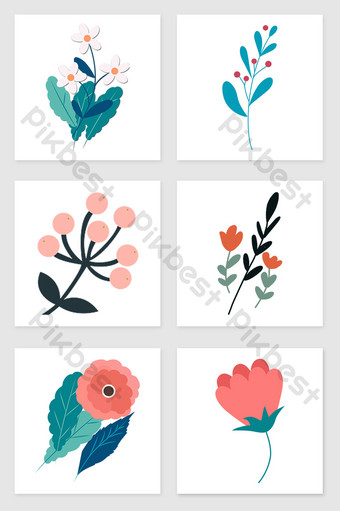 drawing flowers and plants set of illustration elements Illustration Template PSD