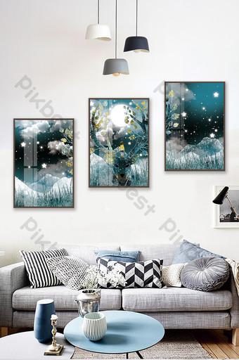 手繪夜森林麋鹿風景兒童房臥室水晶磁性裝飾畫 裝飾·模型 模板 PSD