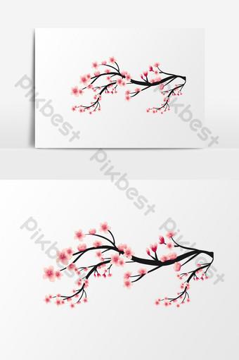ramas cálidas románticas simples flores de primavera elementos brillantes Elementos graficos Modelo AI