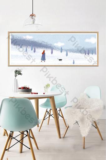 رسمت باليد المشهد الشتاء الجميل غرفة نوم الأطفال الديكور اللوحة الديكور والنموذج قالب PSD