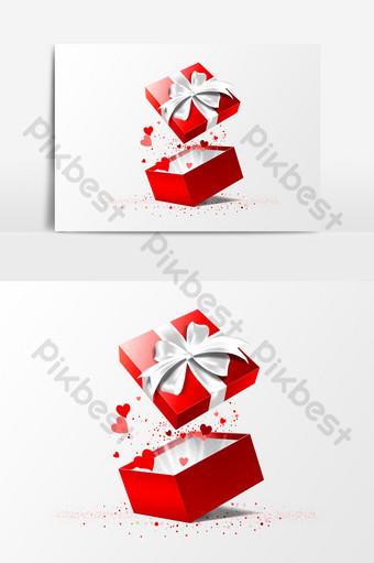 caja de regalo cálida roja elemento de san valentín corazón melocotón Elementos graficos Modelo AI