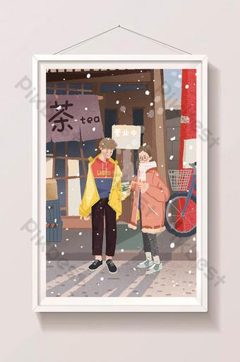 gran escena de nieve fría copo de nieve niño niña enamorarse bebiendo té con leche ilustración de dibujos animados Ilustración Modelo PSD