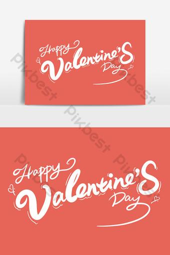 عيد الحب سعيد تصميم الخط الإنجليزية عناصر كلمة الفن بخط اليد صور PNG قالب PSD