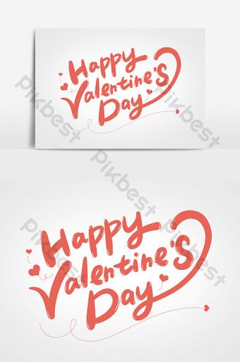 عيد حب سعيد تصميم الخط الإنجليزي بخط اليد عناصر فن الكلمات صور PNG قالب PSD