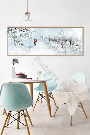 手繪冬季風景客廳臥室床頭裝飾畫 裝飾·模型 模板 PSD