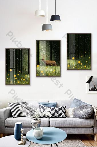 手繪森林麋鹿風景客廳臥室水晶磁性裝飾畫 裝飾·模型 模板 PSD