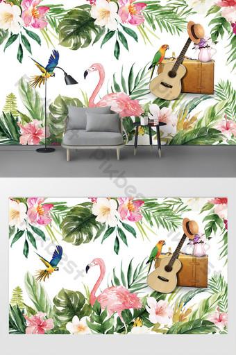 الحديث الجميل أوراق الموز لهب الطيور الببغاء حقيبة التلفزيون خلفية الجدار الديكور والنموذج قالب PSD