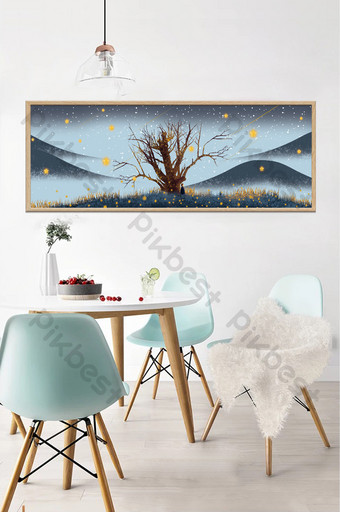 Peinture de décoration peinte à la main des arbres sous les étoiles la nuit dans le salon et la chambre Décoration et modèle Modèle PSD