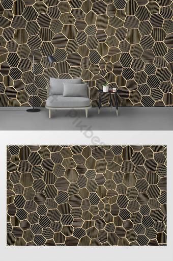 جديد الحديثة بسيطة ذهبية الحديد المطاوع العسل ثلاثي الأبعاد خلفية الجدار الديكور والنموذج قالب PSD