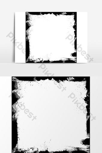 黑色畫筆痕跡墨水飛濺紋理邊框效果元素 元素 模板 PSD