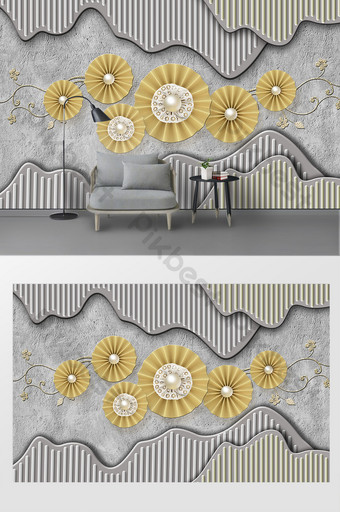 3d tiga dimensi sederhana dekorasi dinding melingkar latar belakang tv Dekorasi dan model Templat PSD