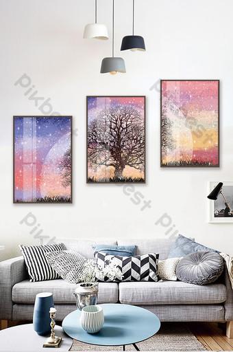 Peint à la main ciel étoilé arbre paysage salon chambre hôtel cristal magnétique peinture décorative Décoration et modèle Modèle PSD
