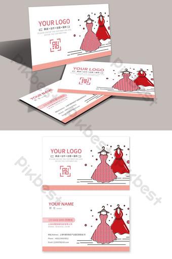 diseño de tarjeta de visita de tienda de ropa de vestido de mujer Modelo PSD