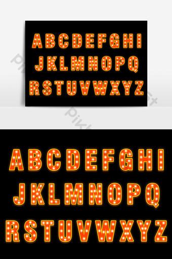 霓虹燈效果26英文字體設計 元素 模板 PSD