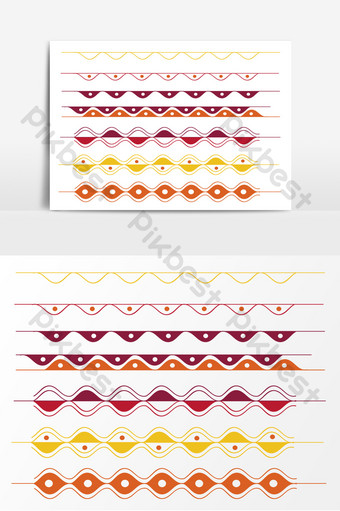 línea divisoria de onda vectorial con textura simple Elementos graficos Modelo AI