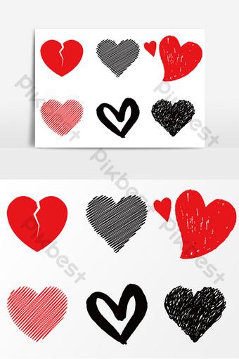 hermoso dia de san valentin lindo dibujo de linea vector en forma de corazon Elementos graficos Modelo AI
