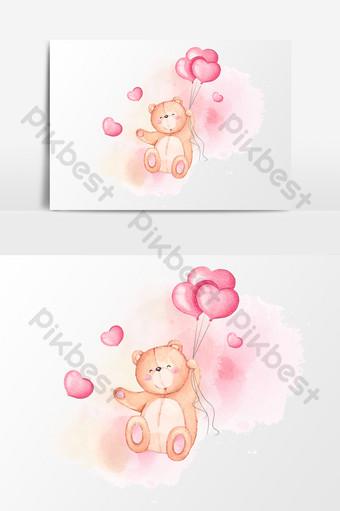 pintado a mano acuarela simple oso globo amor día de san valentín elemento Elementos graficos Modelo AI