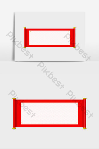 New year red border scroll element PNG Images Template PSD