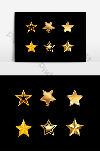金色五角星裝飾圖案元素 元素 模板 PSD