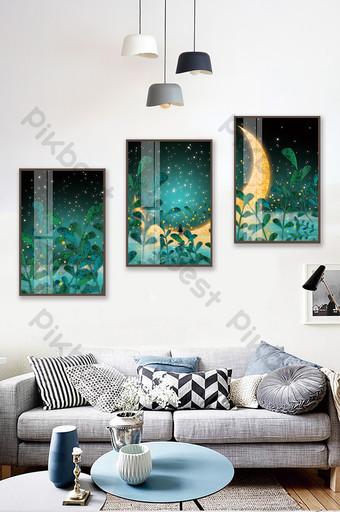 手繪森林中的月亮風光兒童房臥室水晶磁性裝飾畫 裝飾·模型 模板 PSD