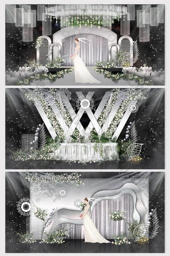 Beautiful and elegant pure white senior gray wedding renderings Decors & 3D Models Template PSD