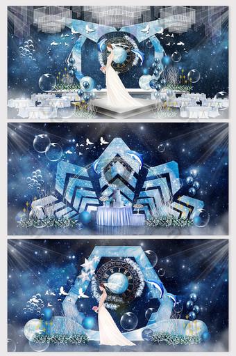 رائعة الخيال الأزرق نجمة البحر تحلق الطيور الدلفين موضوع الزفاف الاداءات الديكور والنموذج قالب PSD