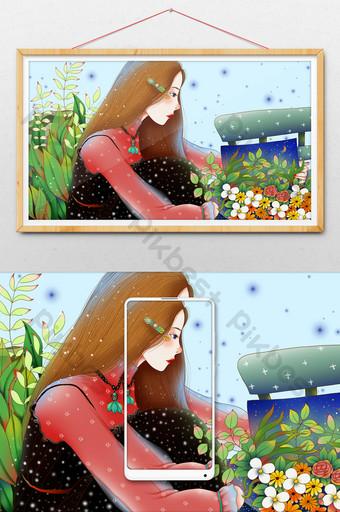 أخضر طازج جميل شفاء فتاة تقرأ كتاب الرسوم التوضيحية الرسوم المتحركة الرسم التوضيحي قالب PSD