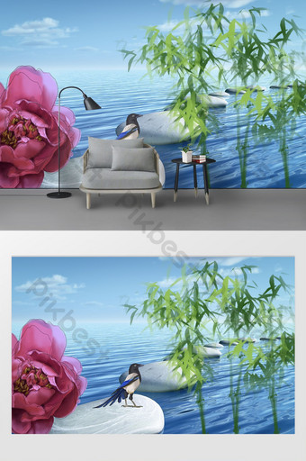 Chinese style blue sea green bamboo bird red flower background wall Decors & 3D Models Template PSD