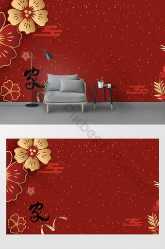 año nuevo chino flores rojas ricas con mariposas y pájaros pared de fondo de tv Decoración y modelo Modelo PSD
