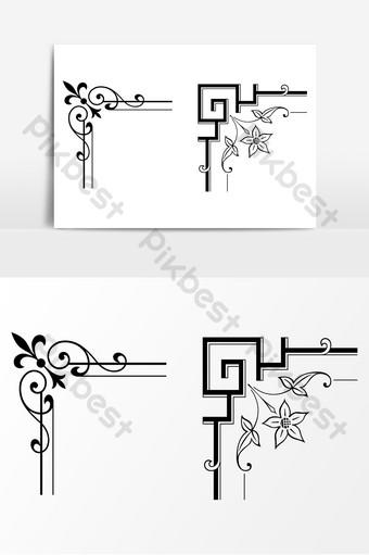 vector de ai de arte de esquina de borde de flor de estilo chino Elementos graficos Modelo AI